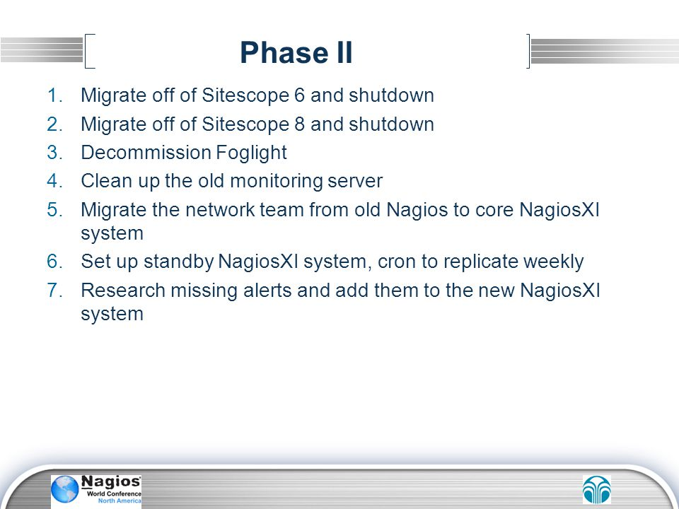 Phase II Migrate off of Sitescope 6 and shutdown