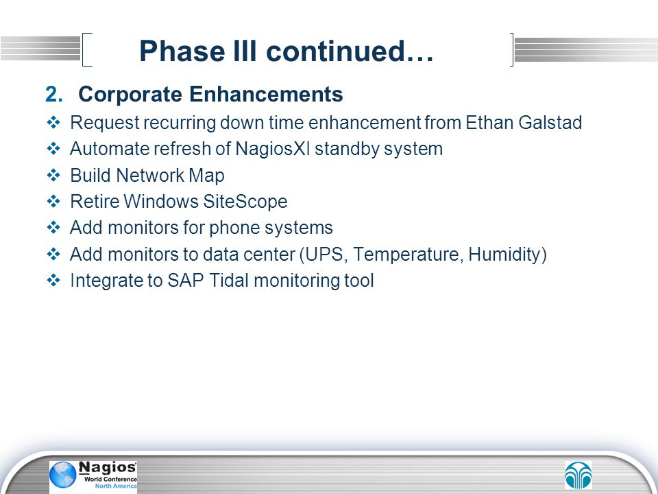 Phase III continued… Corporate Enhancements