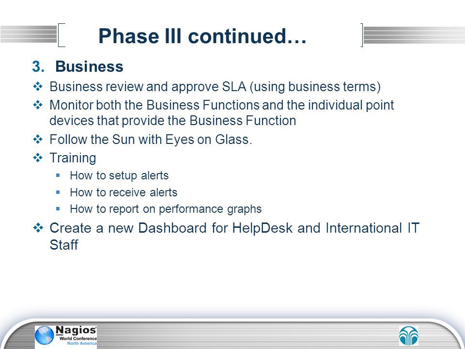 Phase III continued… Business