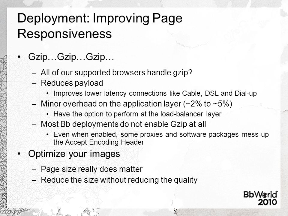 Deployment: Improving Page Responsiveness