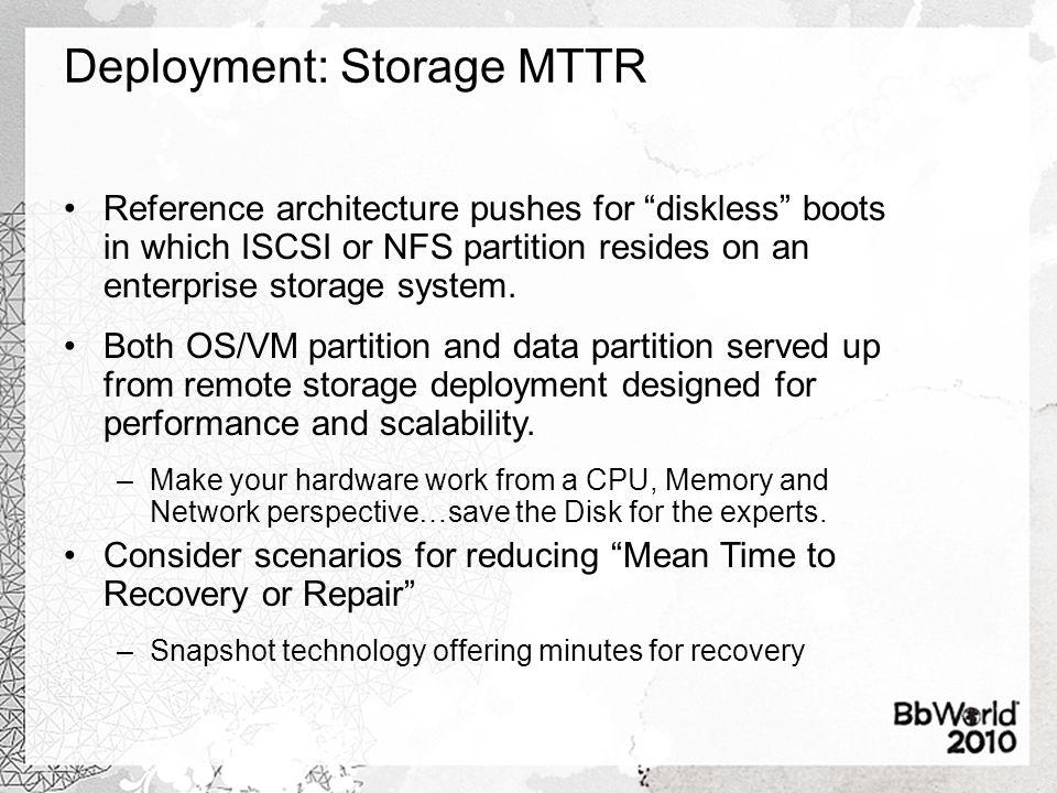 Deployment: Storage MTTR