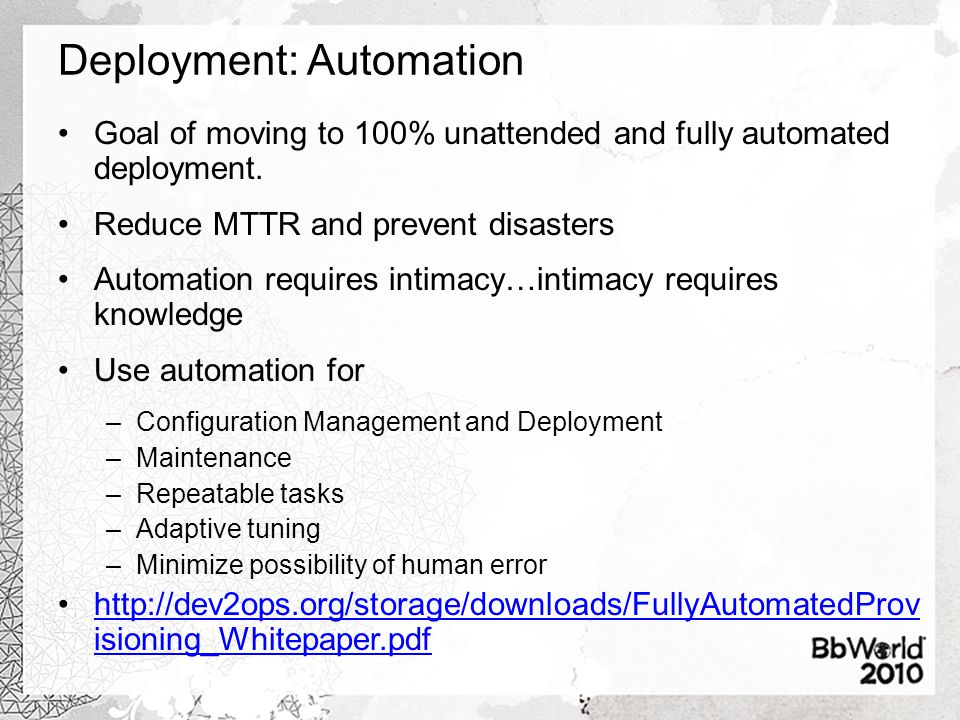 Deployment: Automation