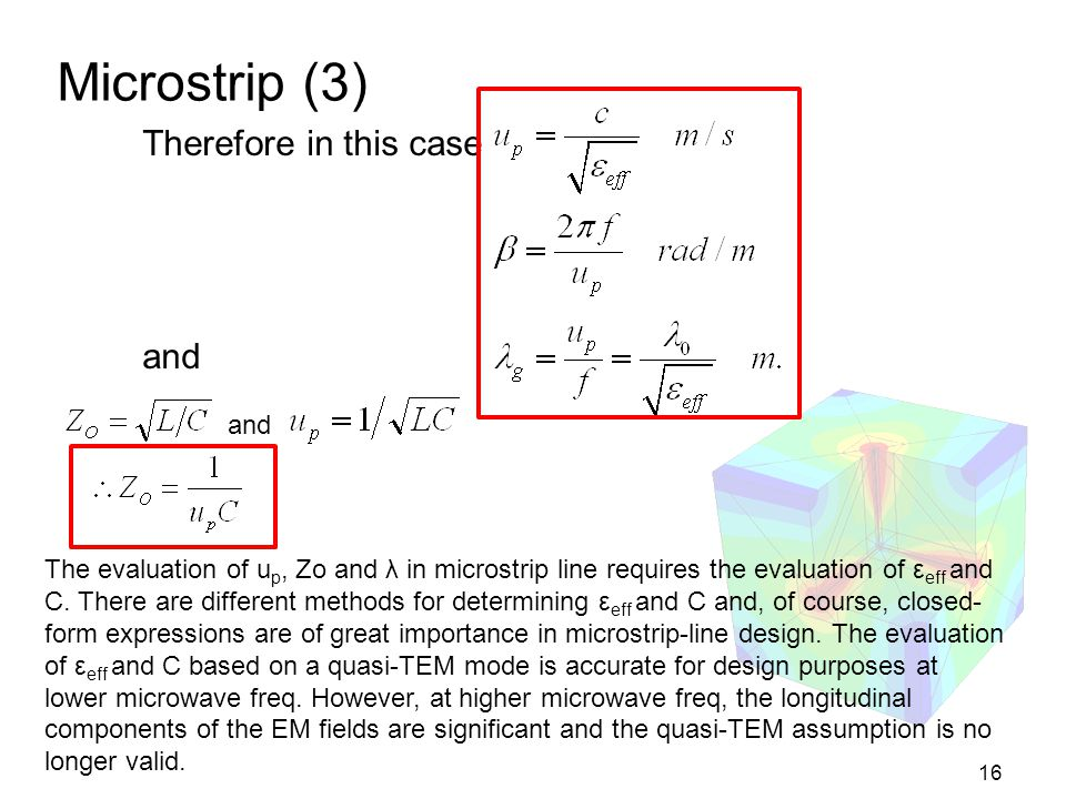 Microstrip (3) Therefore in this case and and