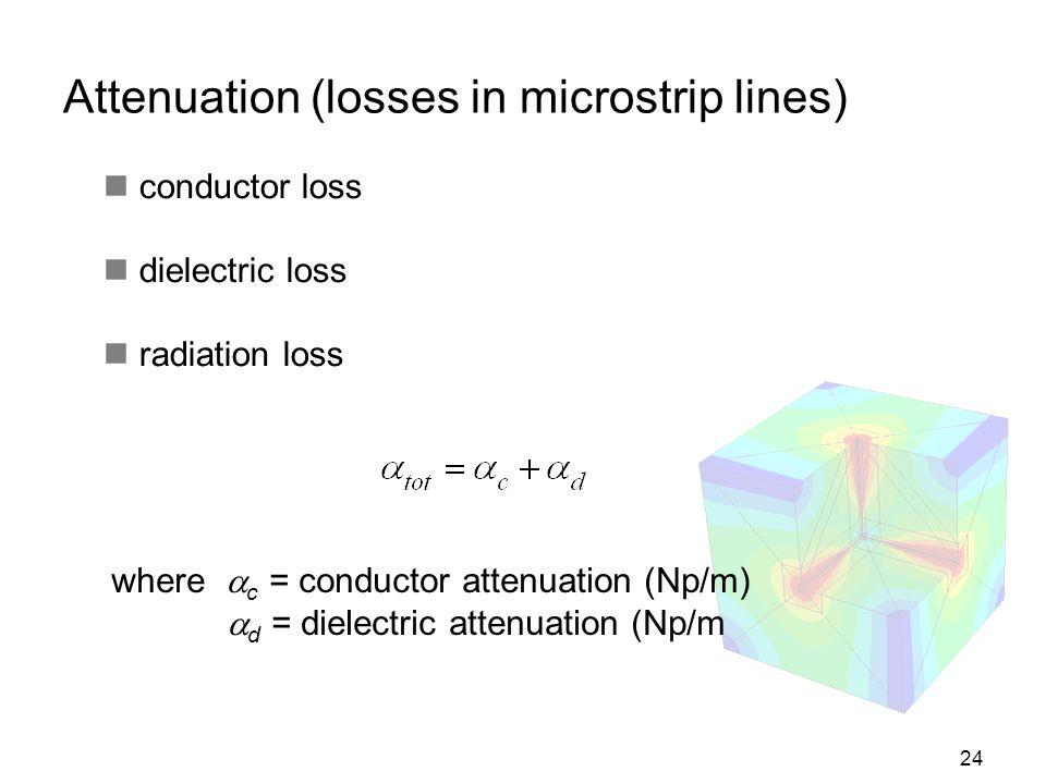 Attenuation (losses in microstrip lines)