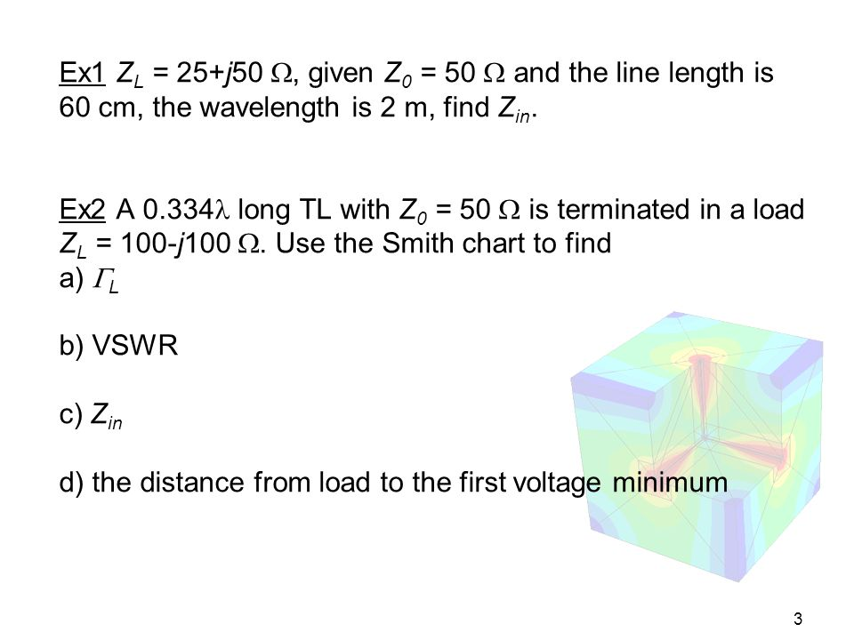Ex1 ZL = 25+j50 , given Z0 = 50  and the line length is 60 cm, the wavelength is 2 m, find Zin.