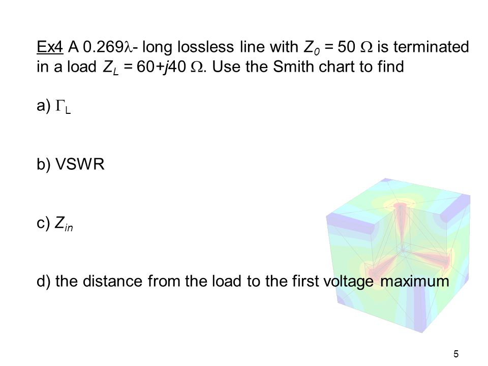 Ex4 A 0.269- long lossless line with Z0 = 50  is terminated