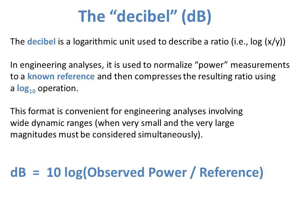 The decibel (dB) dB = 10 log(Observed Power / Reference)