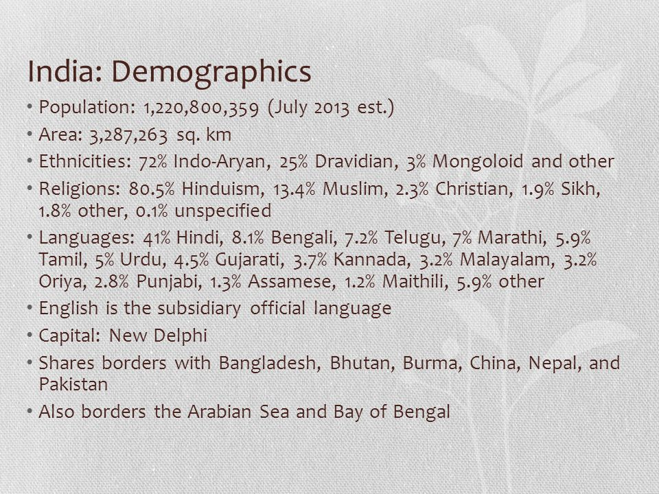 India: Demographics Population: 1,220,800,359 (July 2013 est.)