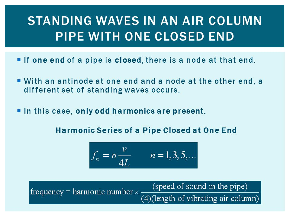 Standing waves in an air column pipe with one closed end