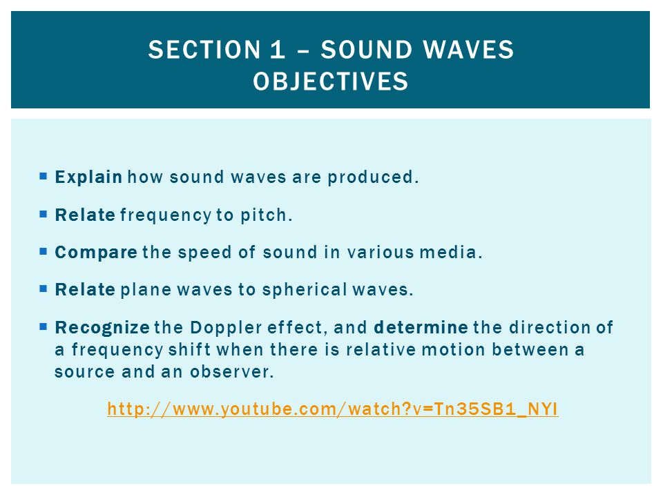 Section 1 – Sound Waves Objectives