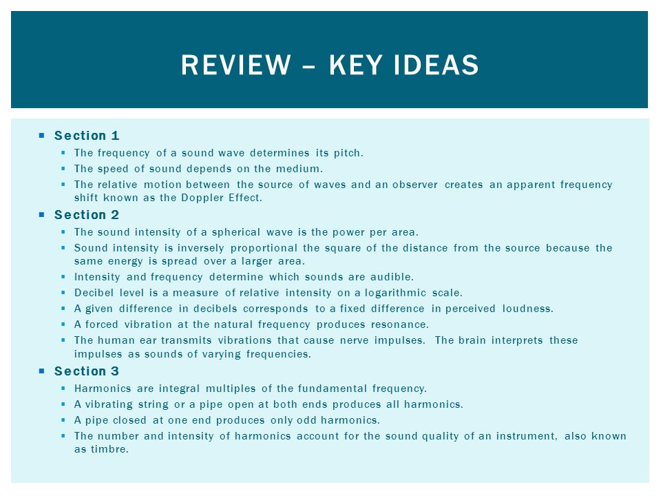 Review – key ideas Section 1 Section 2 Section 3