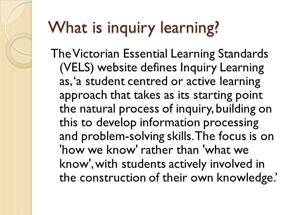 What is inquiry learning