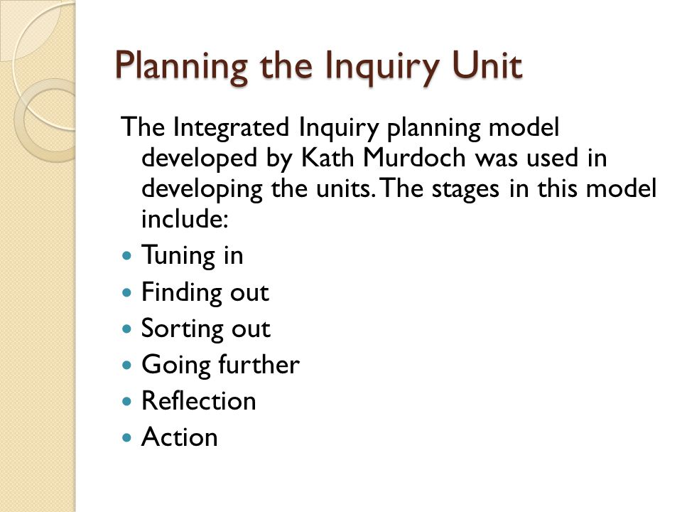 Planning the Inquiry Unit