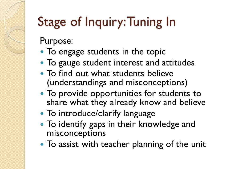 Stage of Inquiry: Tuning In