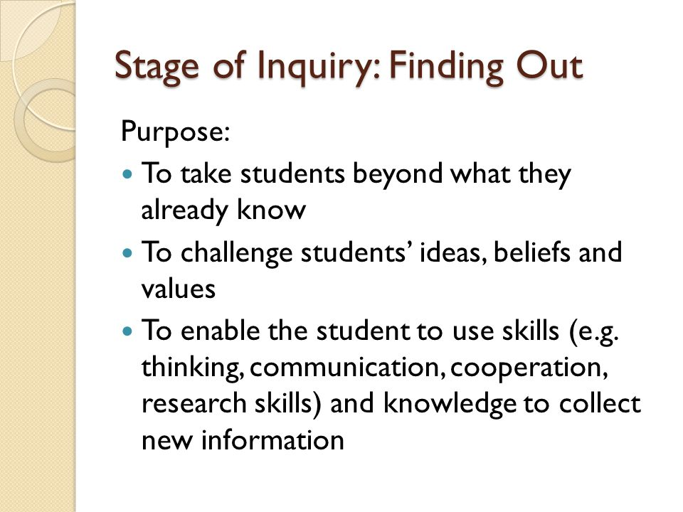 Stage of Inquiry: Finding Out