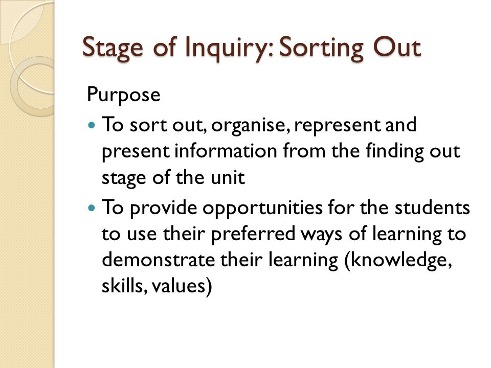 Stage of Inquiry: Sorting Out