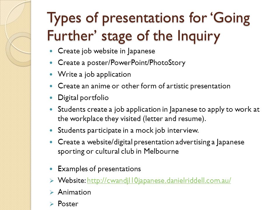 Types of presentations for 'Going Further' stage of the Inquiry