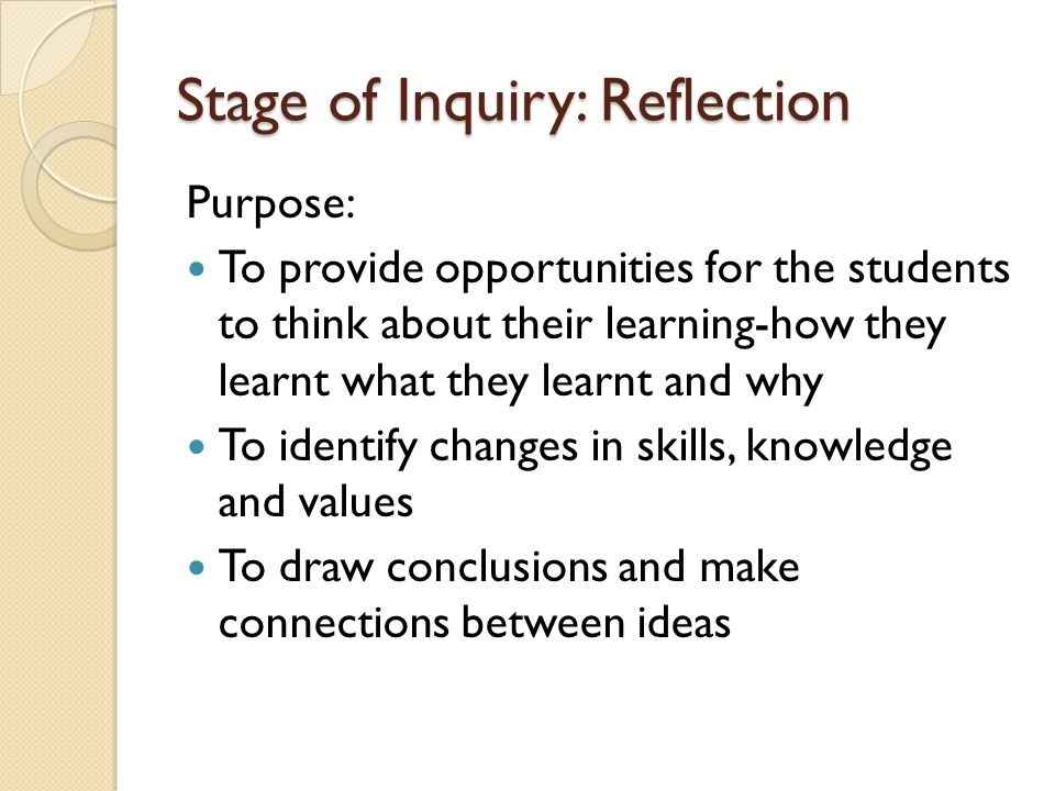 Stage of Inquiry: Reflection