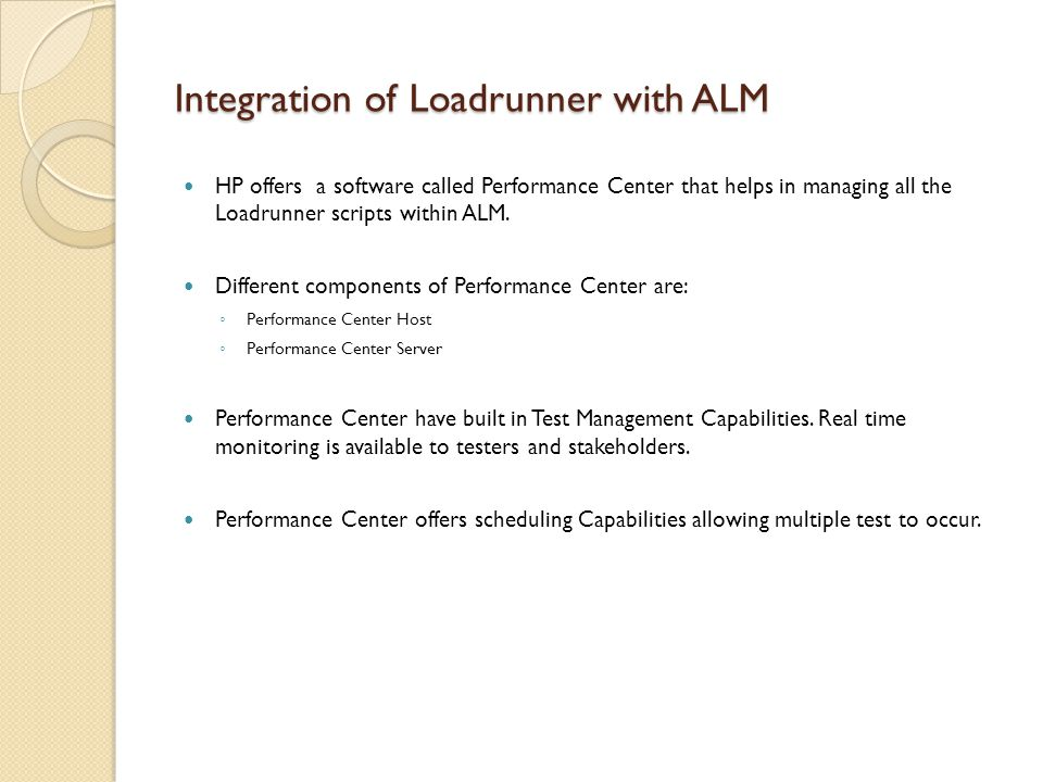 Integration of Loadrunner with ALM