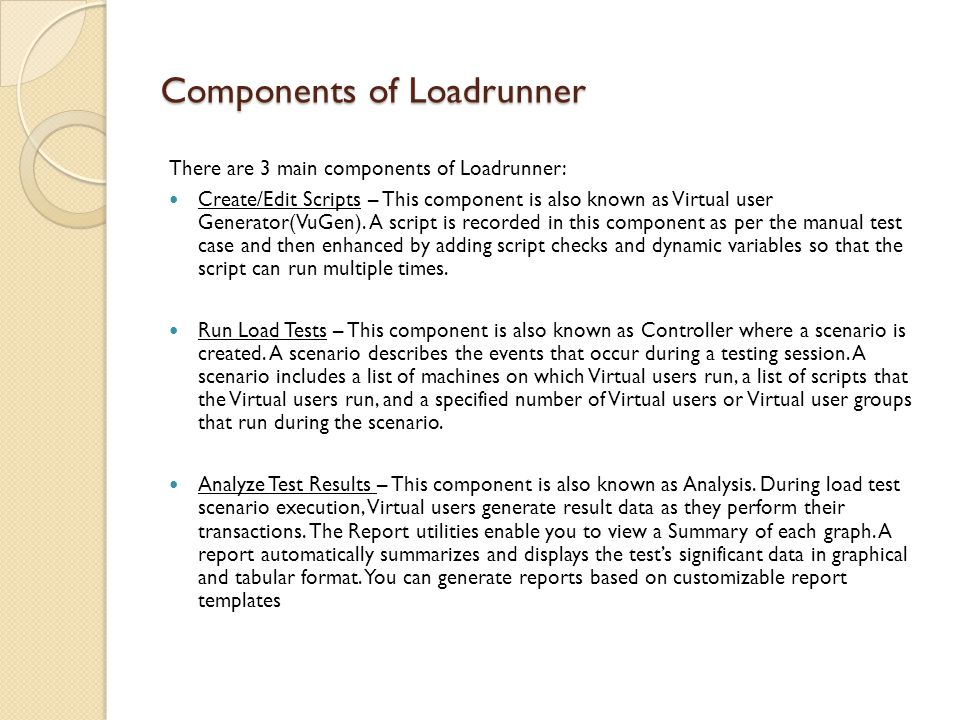 Components of Loadrunner