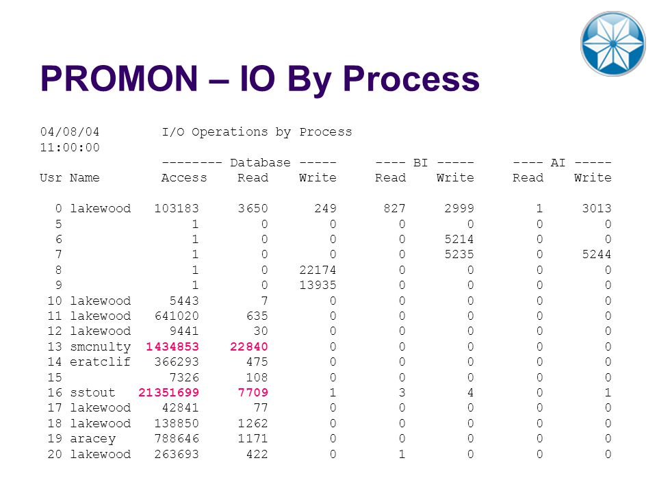 PROMON – IO By Process 04/08/04 I/O Operations by Process 11:00:00