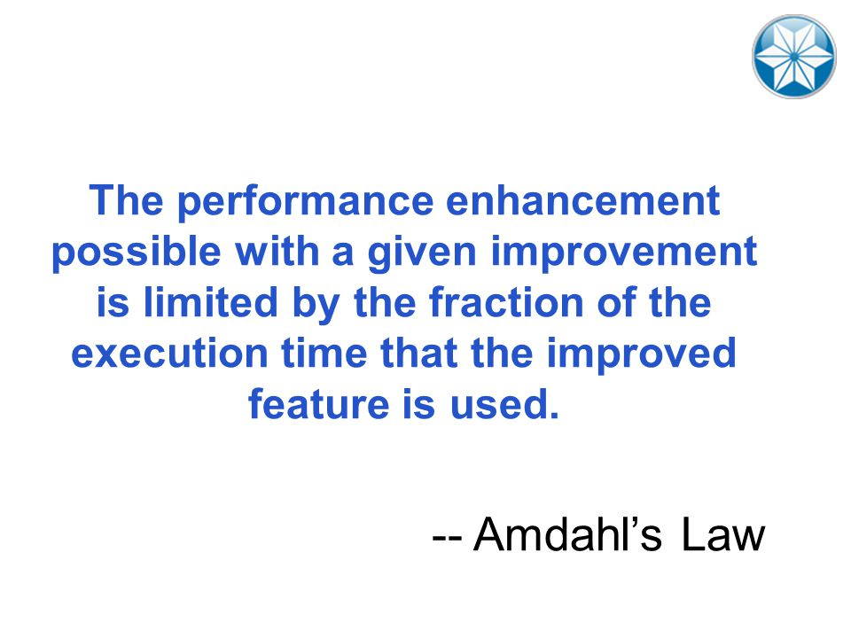 The performance enhancement possible with a given improvement is limited by the fraction of the execution time that the improved feature is used.