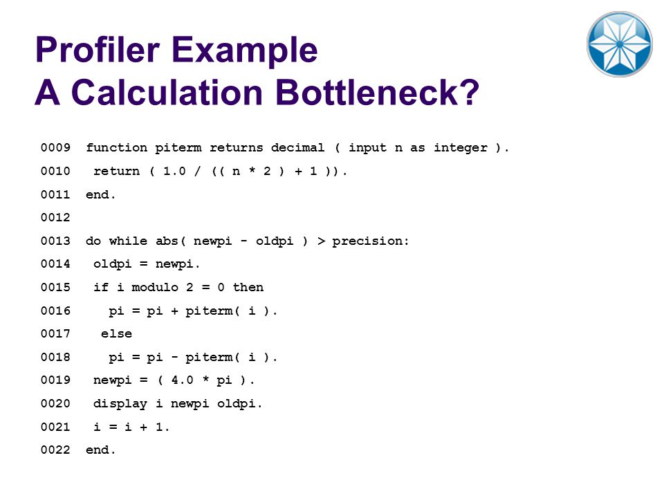 Profiler Example A Calculation Bottleneck