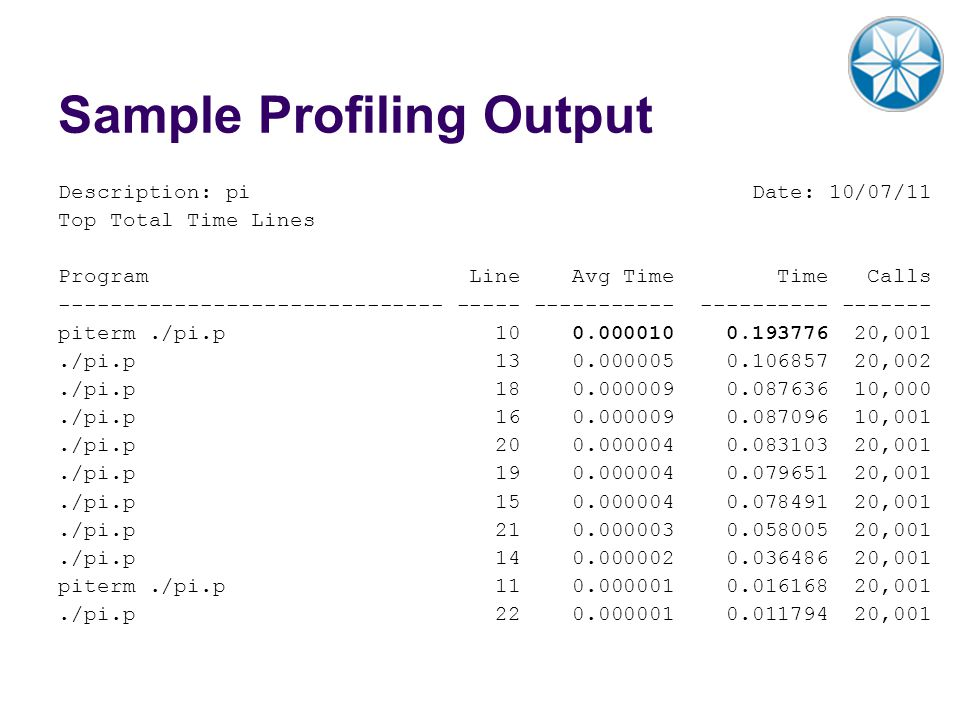 Sample Profiling Output