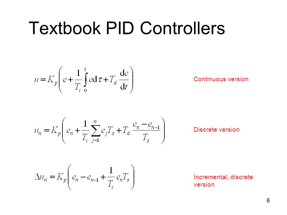 Textbook PID Controllers