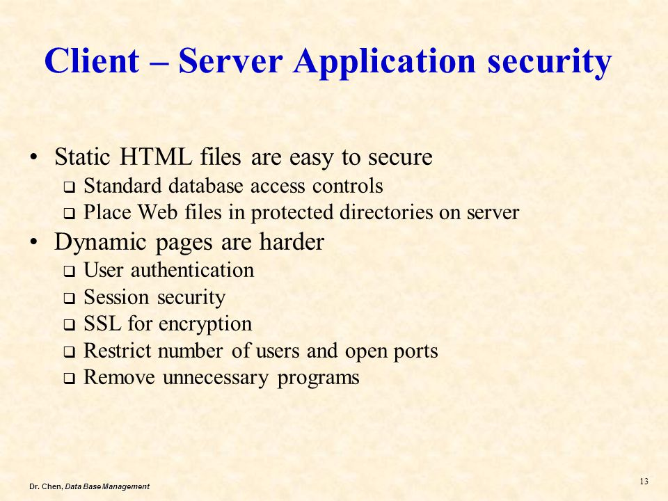 Client – Server Application security