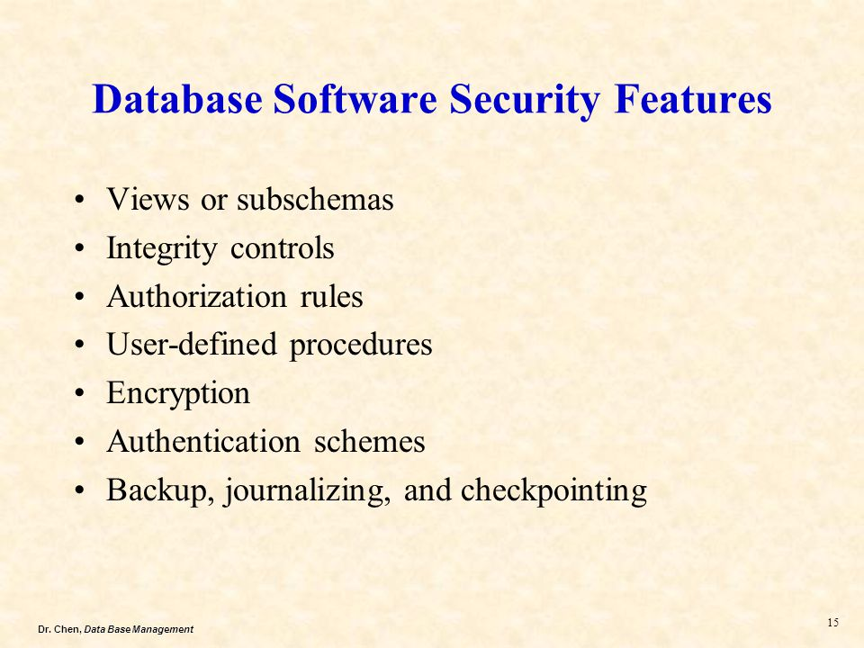 Database Software Security Features