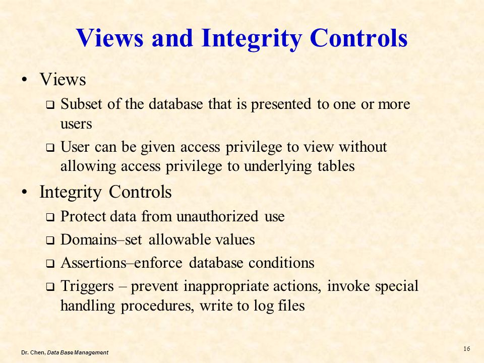 Views and Integrity Controls