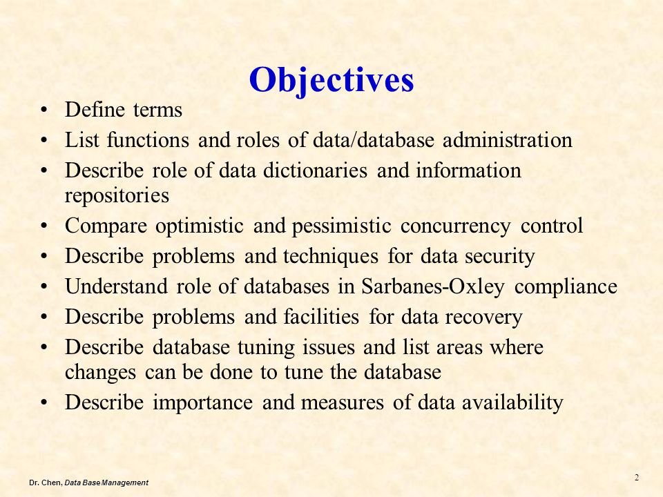 Objectives Define terms