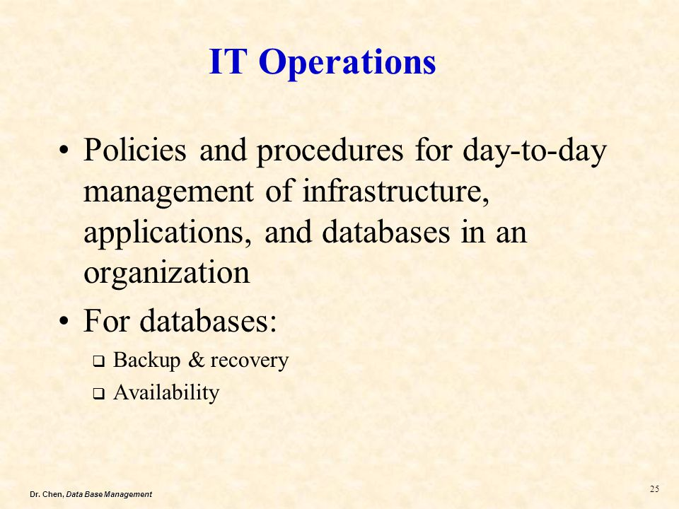 IT Operations Policies and procedures for day-to-day management of infrastructure, applications, and databases in an organization.