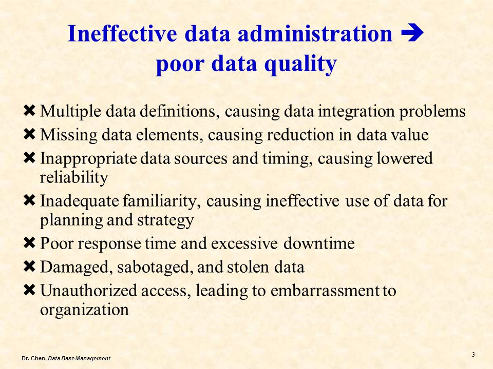 Ineffective data administration  poor data quality