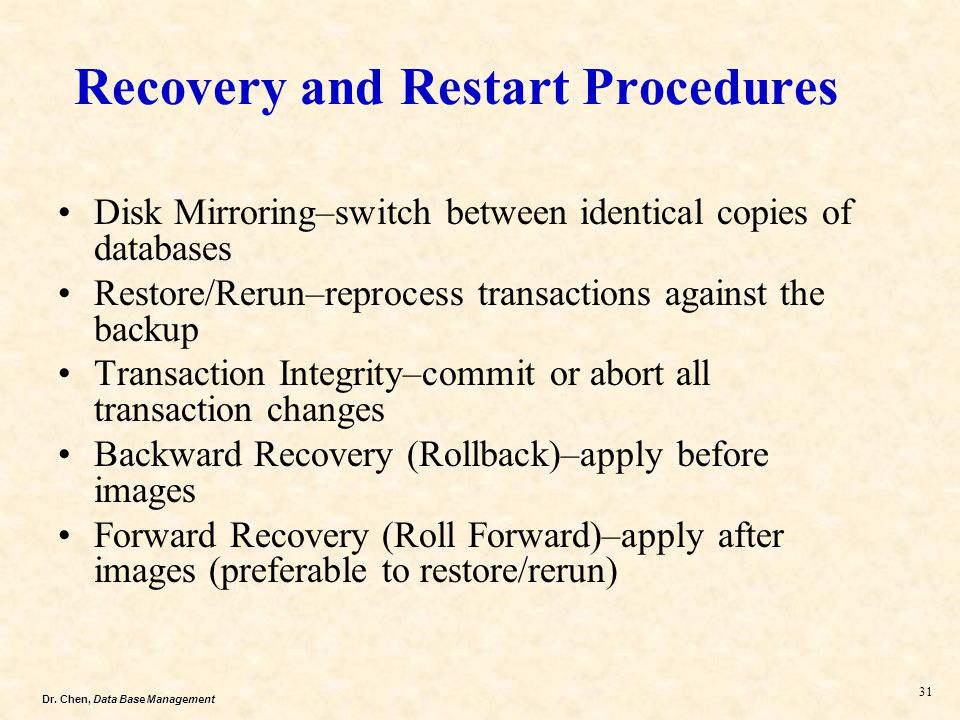 Recovery and Restart Procedures