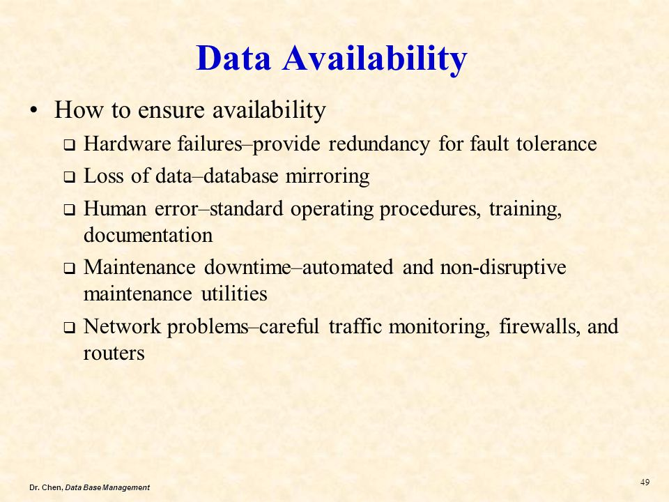Data Availability How to ensure availability