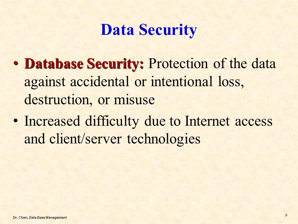 Data Security Database Security: Protection of the data against accidental or intentional loss, destruction, or misuse.