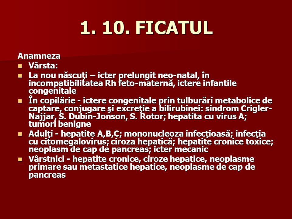 1. 10. FICATUL Anamneza Vârsta: