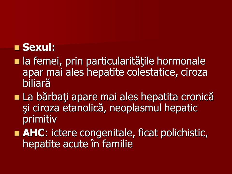 Sexul: la femei, prin particularităţile hormonale apar mai ales hepatite colestatice, ciroza biliară.