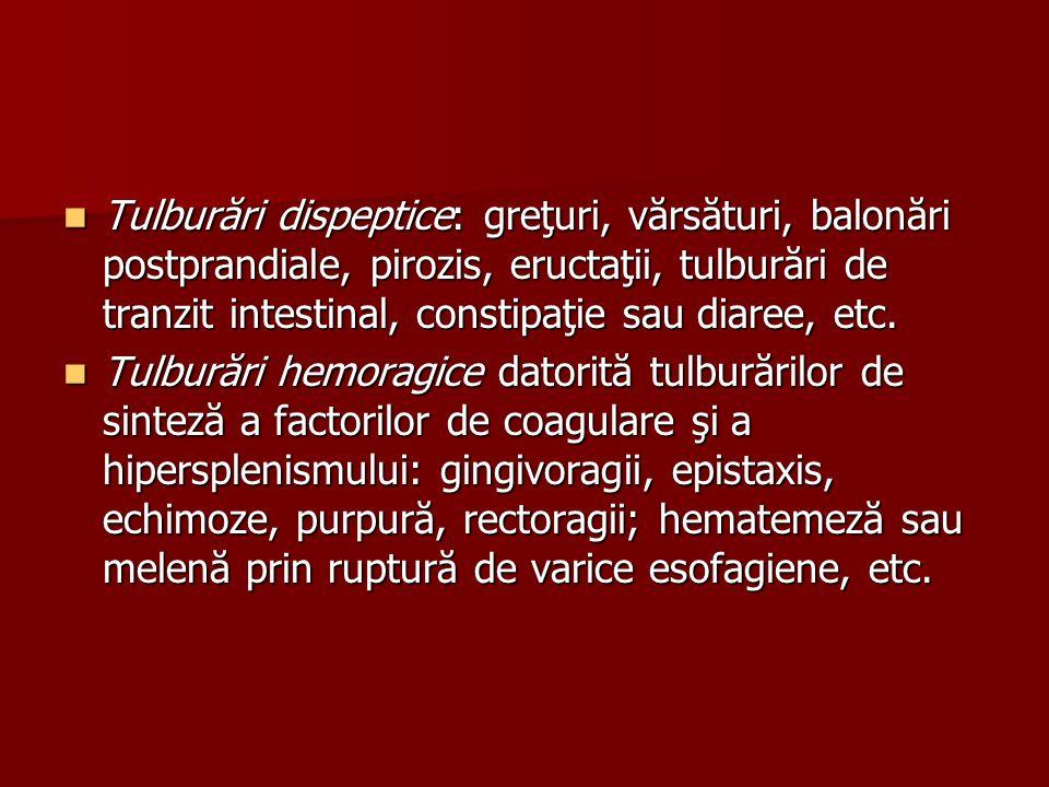 Tulburări dispeptice: greţuri, vărsături, balonări postprandiale, pirozis, eructaţii, tulburări de tranzit intestinal, constipaţie sau diaree, etc.