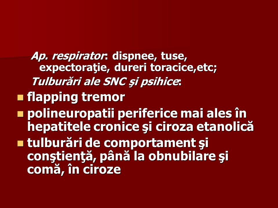 Ap. respirator: dispnee, tuse, expectoraţie, dureri toracice,etc;