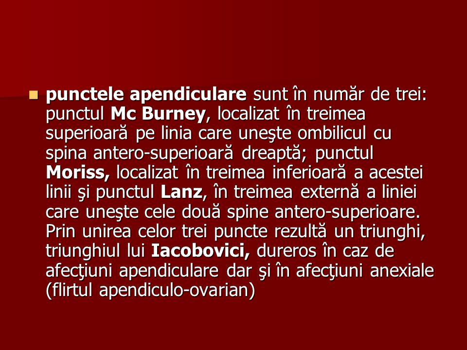 punctele apendiculare sunt în număr de trei: punctul Mc Burney, localizat în treimea superioară pe linia care uneşte ombilicul cu spina antero-superioară dreaptă; punctul Moriss, localizat în treimea inferioară a acestei linii şi punctul Lanz, în treimea externă a liniei care uneşte cele două spine antero-superioare.