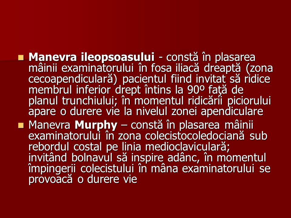 Manevra ileopsoasului - constă în plasarea mâinii examinatorului în fosa iliacă dreaptă (zona cecoapendiculară) pacientul fiind invitat să ridice membrul inferior drept întins la 90º faţă de planul trunchiului; în momentul ridicării piciorului apare o durere vie la nivelul zonei apendiculare