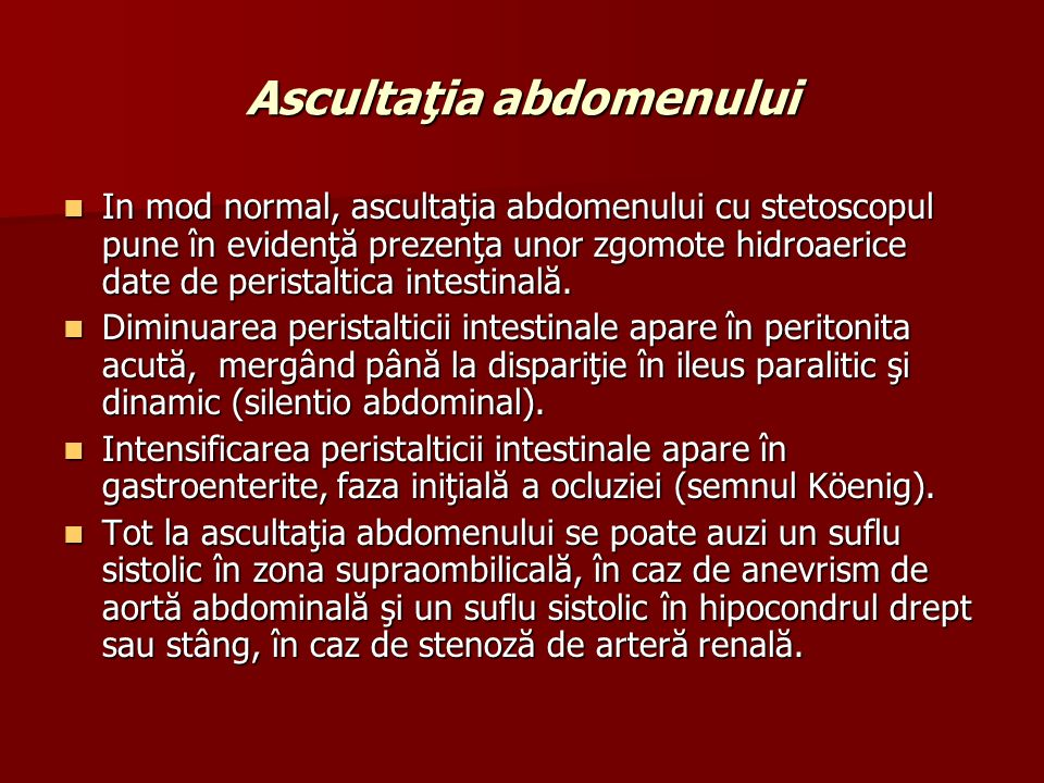Ascultaţia abdomenului