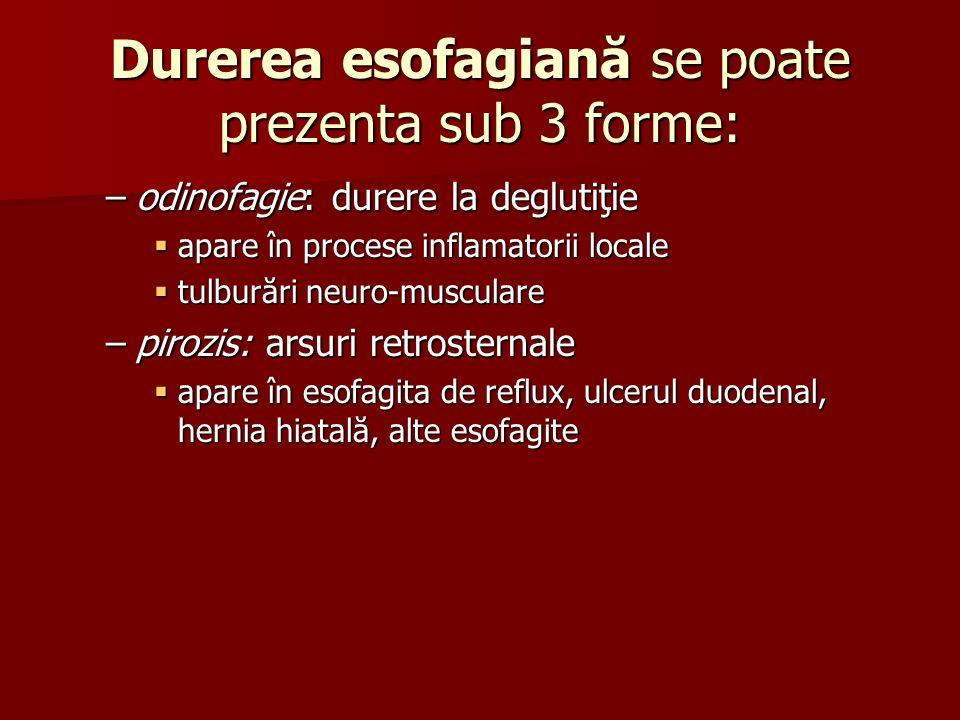 Durerea esofagiană se poate prezenta sub 3 forme: