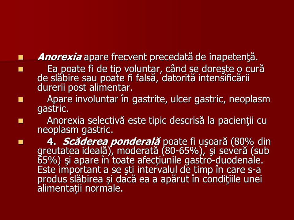Anorexia apare frecvent precedată de inapetenţă.