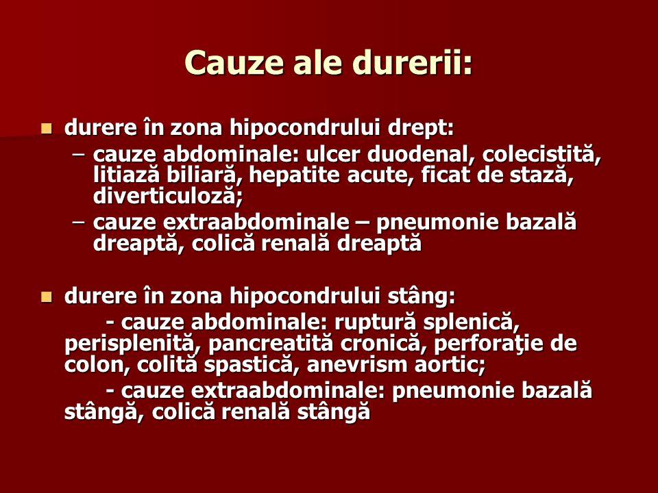 Cauze ale durerii: durere în zona hipocondrului drept: