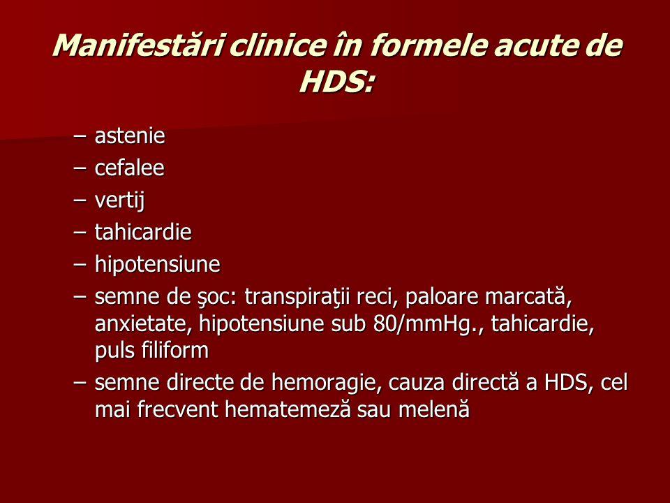 Manifestări clinice în formele acute de HDS: