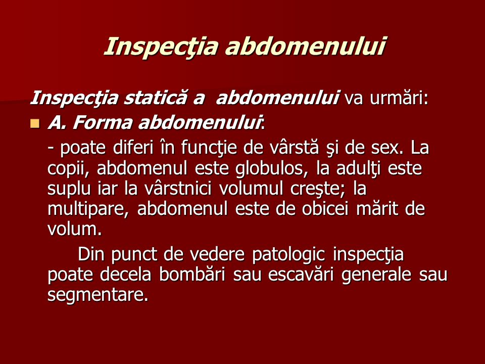 Inspecţia abdomenului